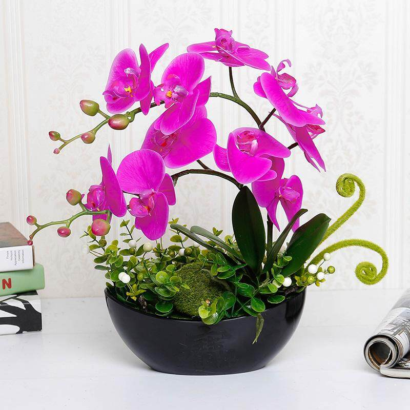 Butterfly Orchid Imitation Flowers Decoration Living Room Decoration Asian Creative Luxury Art Works Top Grade Artificial Flowers Bonsaii Plastic Ornaments Silk Flower Snnei Potted Plant