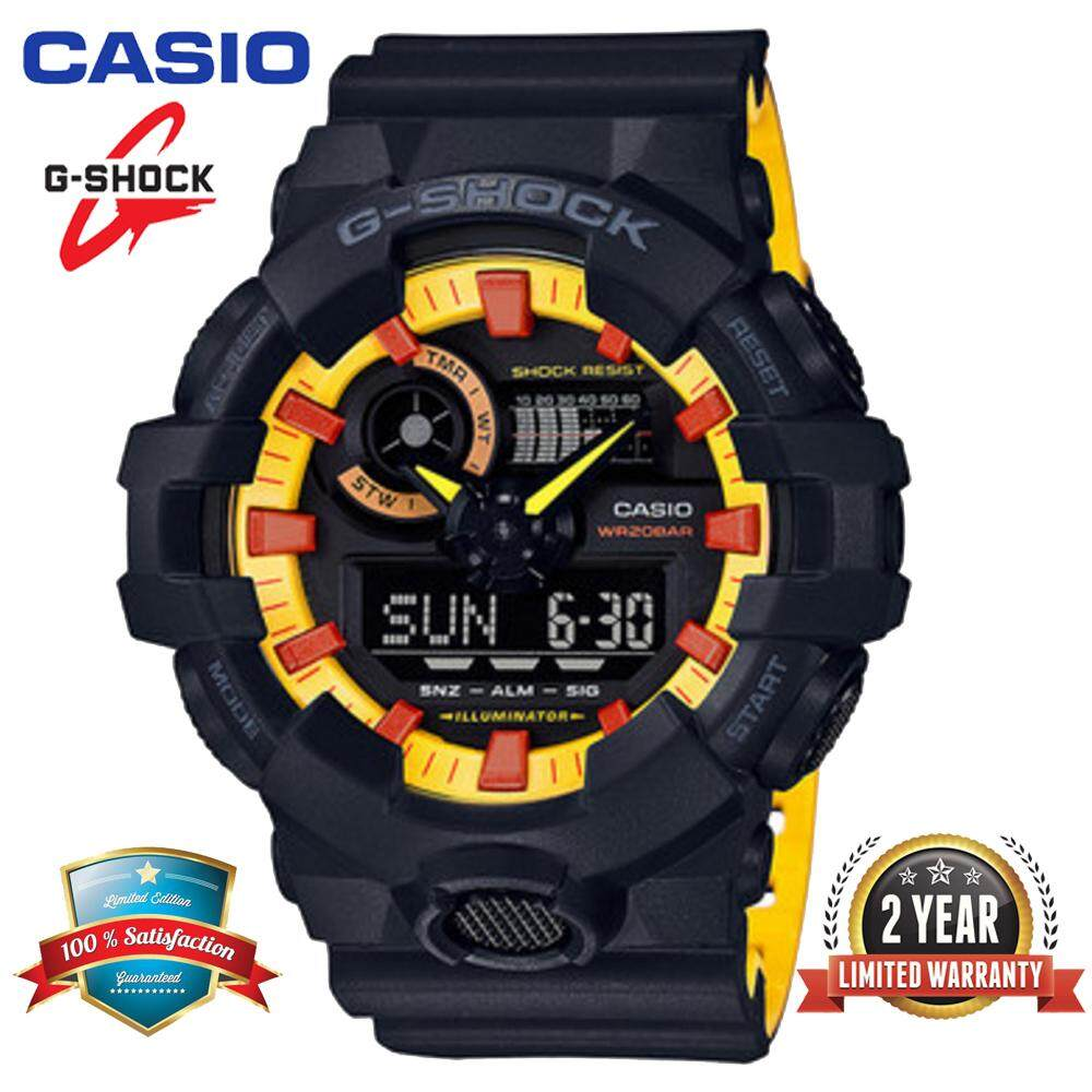 Ready Stock G Shock Ga700 Men Sport Watch Duo W Time 200m Water Resistant Shockproof And Waterproof World Time White Led Auto Light Wist Sports