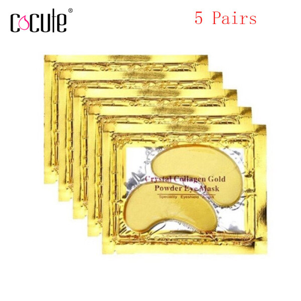 Cocute 5 Pairs Crystal Collagen Gold Powder Eye Mask 24K Eye Treatment Gentle Texture Eyes Care Mask Beauty