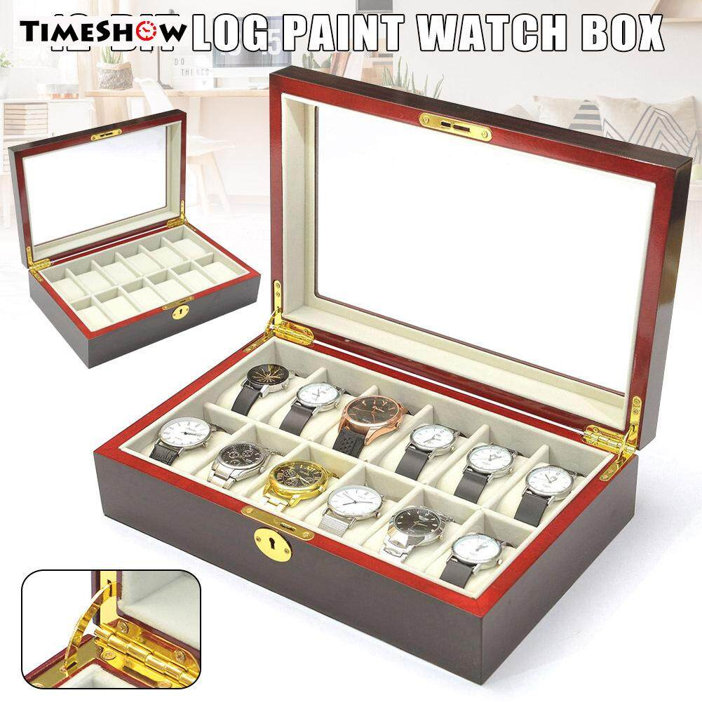 TimeShow 12 Slots Watch Protective Box Wooden Case Display Organizer Storage Tray for Men Women Malaysia