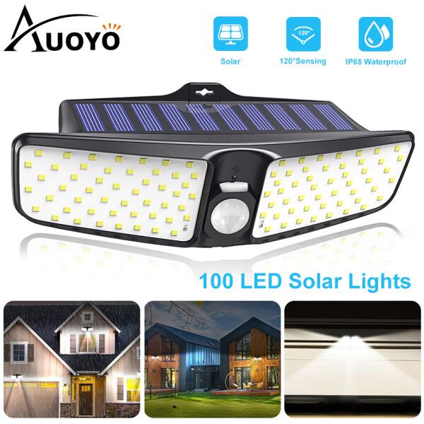 Auoyo LED Đèn Năng Lượng Mặt Trời 100 LED Solar Lights Outdoor Lighting Wall Light Lamps cảm biến chuyển động ngoài trời Lamp IP65 chuẩn chống nước góc quay rộng 220°đèn an ninh gắn tường với 2 chế độ cho sân vườn