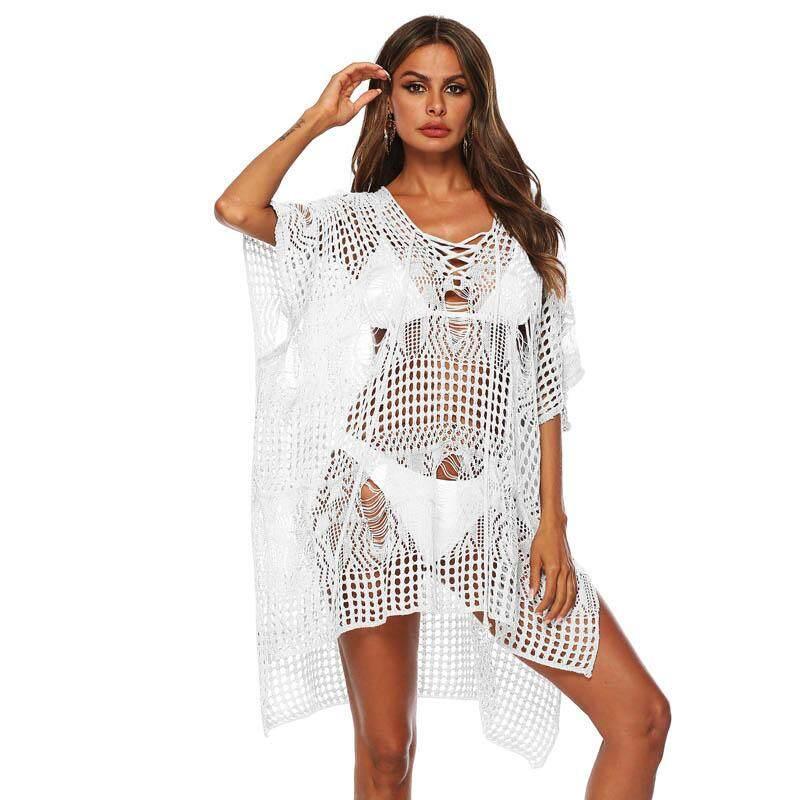 8fb0be93d2 Sexy White Crochet Knitted Beach Cover Up Swim Dress Women Beach Dress  Beachwear Swimwear Bikini Swimsuit