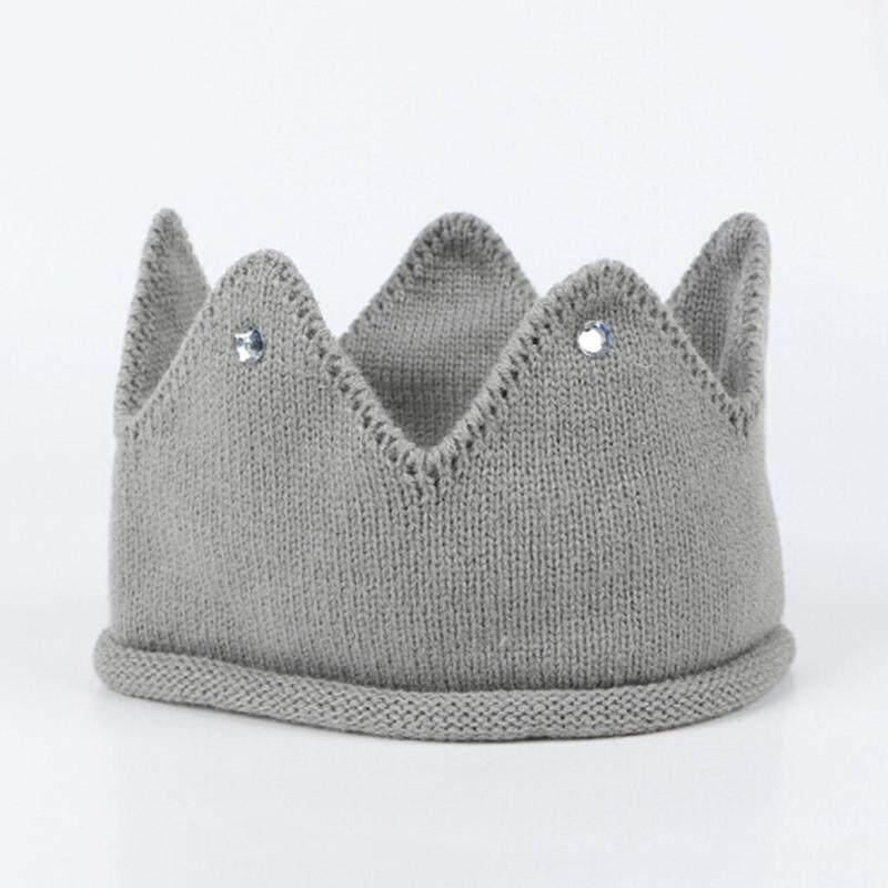 d8509baafea79 JollicCute baby photo props kids hat caps baby crown knit headband hat