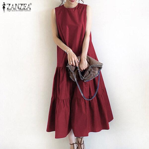 ZANZEA Đầm Sơ Mi Nữ Dài Đi Biển Mùa Hè Cho Kỳ Nghỉ Đầm Xòe Ba Lỗ Dài Mới