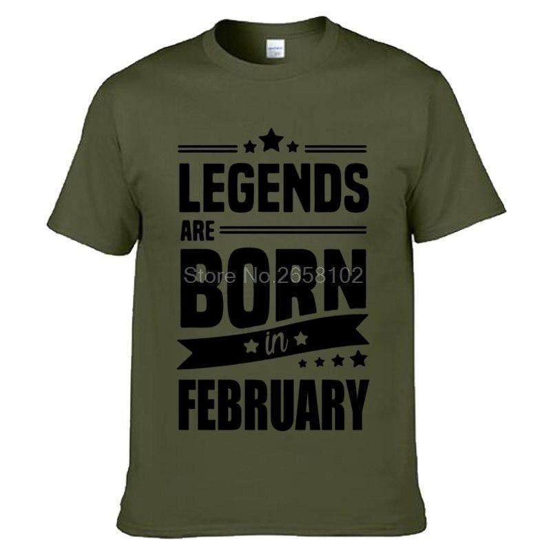 Novelty Men Cotton Short Sleeve T Shirt Legends Are Born In February Funny Birthday Gift Design
