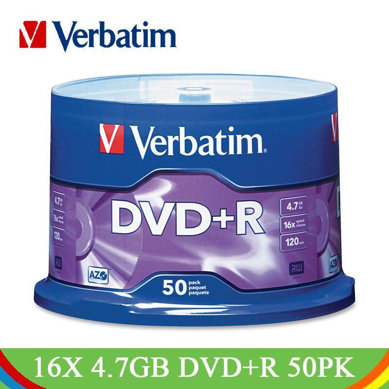 Verbatim DVD Drives 16X 4.7GB DVD+R Blank Disk CD Disks 50PK Spindle Lot Branded Recordable Media Disc Compact Write DVD Lotes XWBSTORE