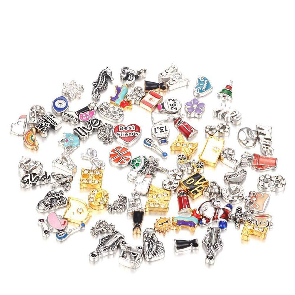 ce332dd275 MeiYang Random 50Pcs Lot Heart Love Animal Crystal Alloy Resin Mixed Float  Charms For Glass