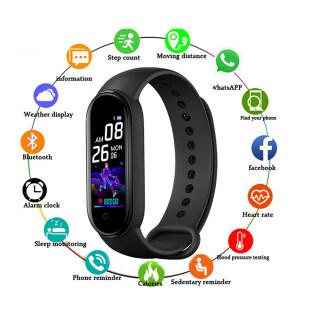 Vòng Đeo Tay Đồng Hồ Thông Minh M5 Đồng Hồ Đeo Tay Chống Nước Đo Huyết Áp Nhịp Tim 5 Dây Đeo Cổ Tay Đồng Hồ Bluetooth, Tập Thể Dục Tracker thumbnail
