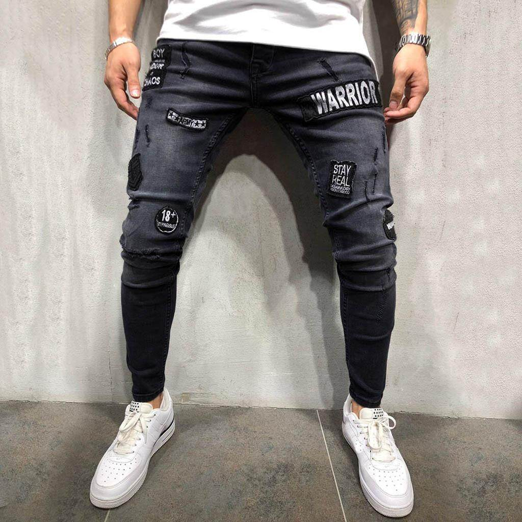 9532d6afa0b Vernonstore Mens Stretch Denim Pant Distressed Ripped Freyed Slim Fit  Pocket Jeans Trousers