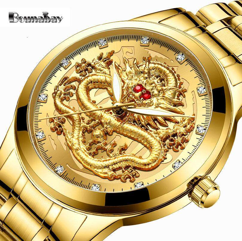 Bounabay Wat For Men Luxury Gold Dragon Watch Stainless Steel Luminous Waterproof Quartz Watch with Gift Box Malaysia