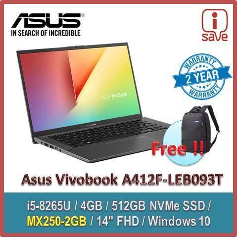 ASUS Laptop Vivobook  A412F-LEB093T (GREY)  / A412F-LEB094T (BLUE) / A412F-LEB095T (SLIVER) 14 (i5-8265U,4GB,512GB,MX250,Win10) Malaysia