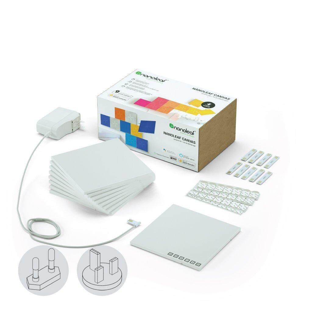 Nanoleaf Canvas Square Light Panels Smarter Kit 9 Panels with Power Adaptor