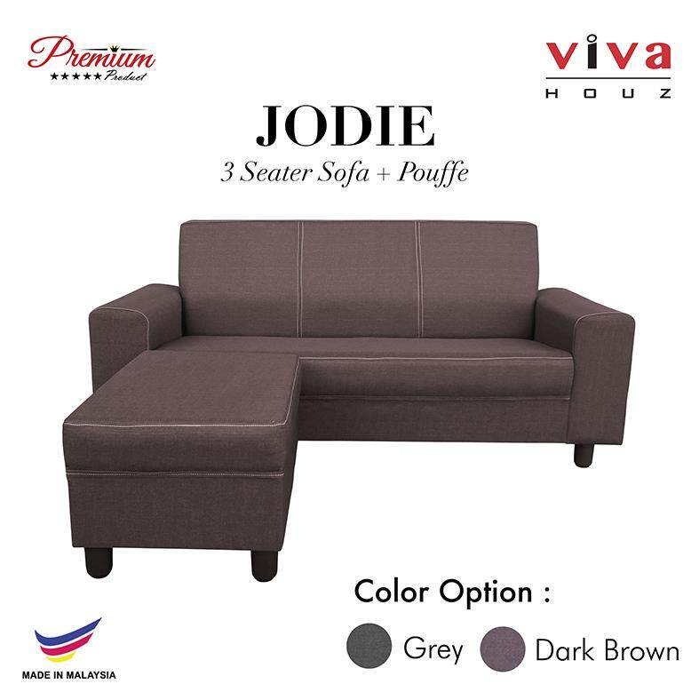 Viva Houz Jodie 3 Seater Sofa With Pouffe L Shape Sofa Living Room Sofa Sectional Sofa