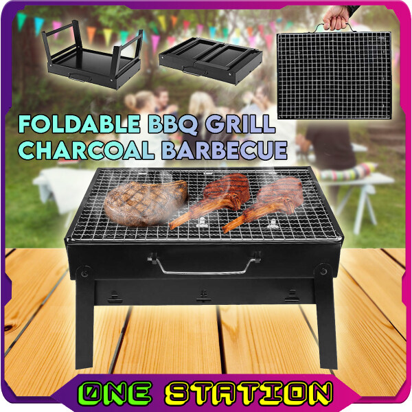 Portable Foldable BBQ Grill Charcoal Barbecue Arang For Camping Picnic Outdoor Party