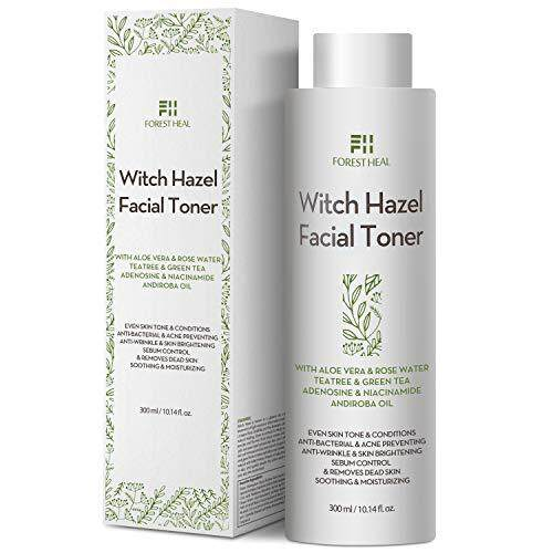 Natural Witch Hazel Face Toner - Alcohol Free with Aloe Vera, Rose Water, Green Tea - Forest Heal Unscented Natural Facial Toner and Moisturizer - Skin Toner 10.14 Oz / 300 mL