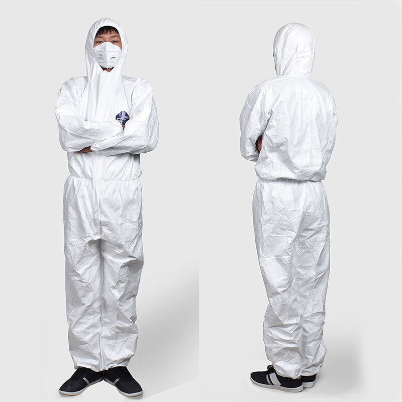 Protective Clothing 1422A Anti-static Work Clothes Spray Paint Anti-chemical Siamese Hooded Dust-free Breathable Clothes White Protecting Suit