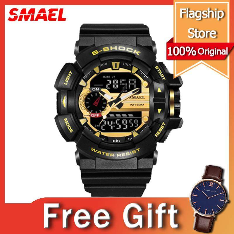 SMAEL Sport Watch for Men Jam Tangan Lelaki Multifunctional New Waterproof Stopwatch Dual Display LED Light Shock Resistant Large Dial Watches Rubber Strap Watch Black Malaysia