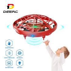 DEERC Máy bay UFO mini xoay 360 độ tự động điều khiển cảm ứng bằng tay có đèn LED dành cho bé trai và bé gái – INTL