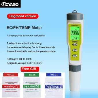 4 in 1 TDS PH มิเตอร์พีเฮช/TDS/EC/เครื่องวัดอุณหภูมิดิจิตอลเครื่องตรวจคุณภาพน้ำ Tester ฟรีของขวัญ-