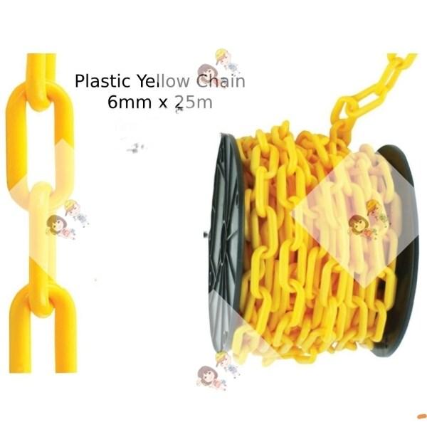 6mm x 25 metre PVC Plastic Chain / PVC Rantai Plastik 6mm x 25 meter (colour :red or yellow)