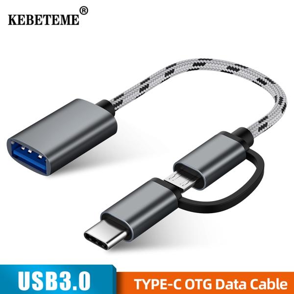 Đầu Chuyển Đổi USB 3.0 OTG 2 Trong 1 KEBETEME Bộ Chuyển Đổi Đồng Bộ Dữ Liệu Cáp Micro USB Type C Cho Huawei Cho MacBook Cho Samsung