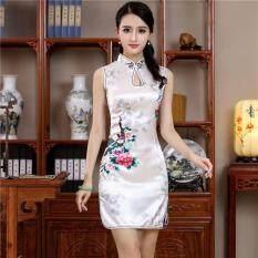 Loldeal Trung Quốc Truyền Thống Phong Cách Áo Trắng Mùa Hè Mini Sườn Xám Nữ Rayon Váy Đầm Hoa Trơn Mới Lạ Vestidos Kích Thước