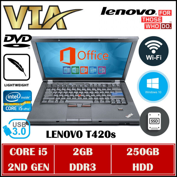Buisness Laptop LENOVO ThinkPad T420s CORE i5 (2ND GEN)~2GB DDR3~250GB HDD~W10~DVD~Wifi Ready~Lightweight Malaysia