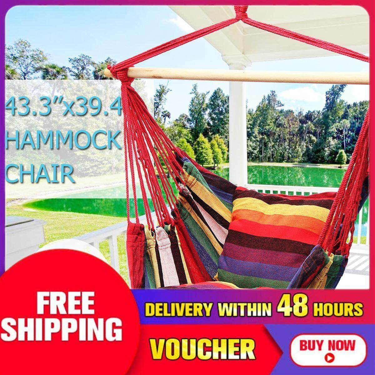 【Free Shipping + Flash Deal】43.3x39.4 Hanging Hammock Chair Swing Outdoor Indoor Camping Garden
