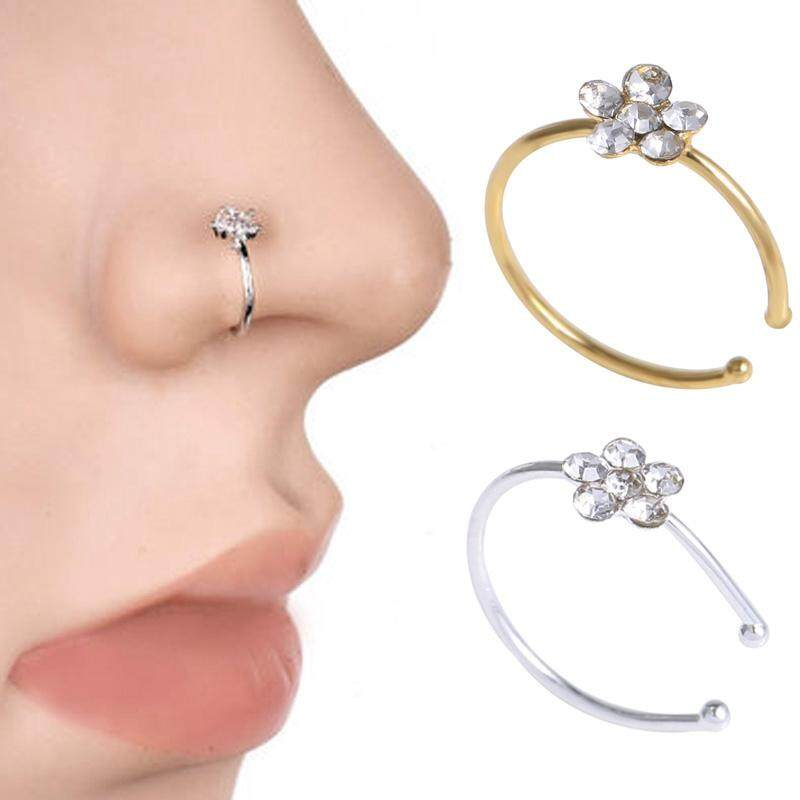 2 pcs Fashion Surgical Steel Diamond Crystal Rhinestone Flower Nose Ring Hoop Women's Body Piercing Jewelry