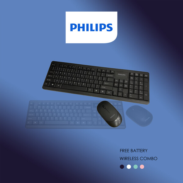 Philips Fun with Colour Wireless Keyboard & Mouse Combo, Ambidextrous Low-Profile, Adjustable DPI Mouse with Full-Sized Keyboard C/w Calculator Key, Plug and Play, Stylish & Silent Design for Home & Office. (Model- C314 / SPT6314) Malaysia