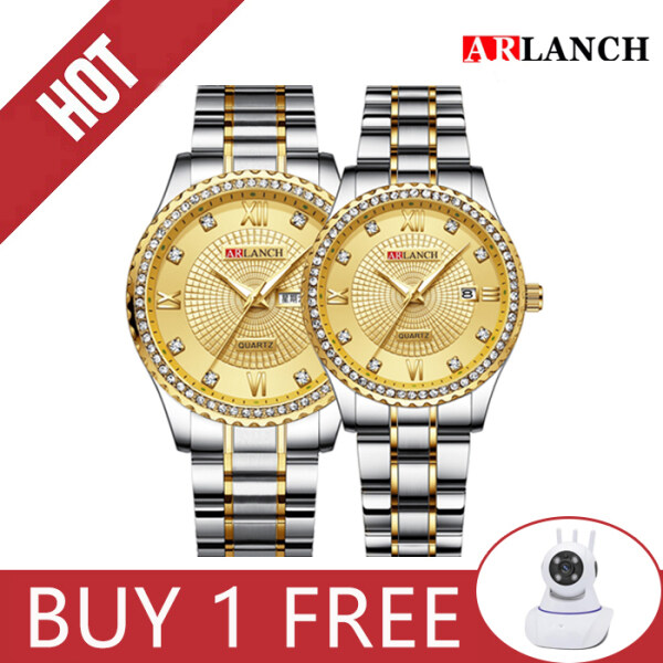 ARLANCH 1Pair Couple Lover Watches Quartz (Diamond)Stainless Steel Strap  Fashion Luxury WristWatch Malaysia