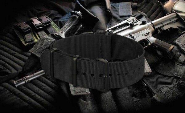 NATO Zulu Nylon Watch Strap (All Black PVD) - 22mm Malaysia