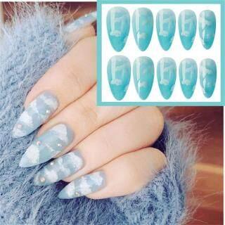 ficcr737 24 cái móng giả màu xanh tự nhiên kèm keo dán móng - INTL thumbnail