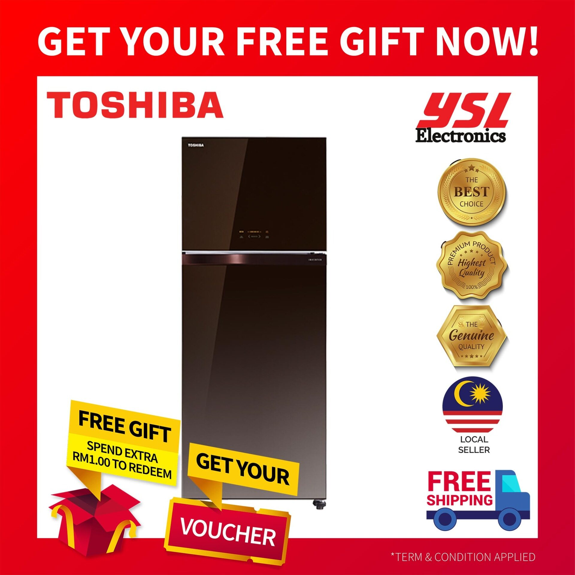 TOSHIBA GR-AG66MA (PGB) 2-DOORS DUO HYBRID, INVERTER REFRIGERATOR 661L C/W AUTO ICE MAKER (GLASS BROWN) + *FREE SHIPPING!*