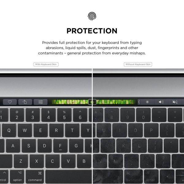 Ultra Thin Keyboard Skin for MacBook 13 & 15 with Touch Bar and Touch ID Transparent Keyboard Cover Protection Sticker for Apple MacBook
