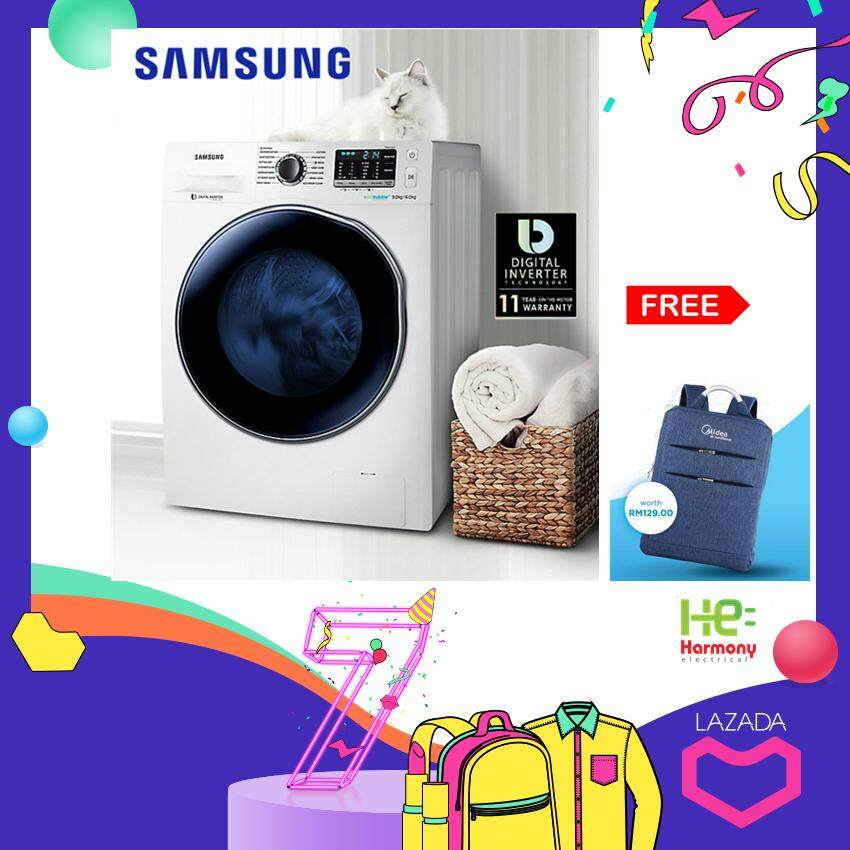 New : Samsung 7kg Washer, 5kg Dryer Combo With Eco Bubble, 7kg Wd70j5410aw/sp + Free Backack (worth Rm129) By Harmony Electrical.