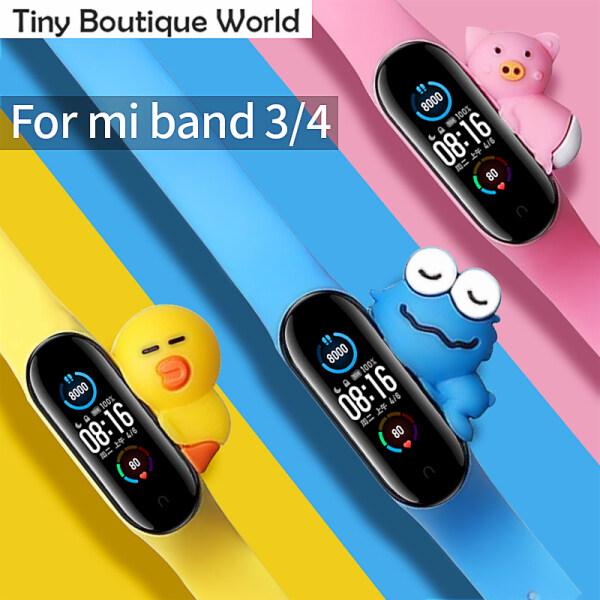 Dây đeo silicon thay thế phiên bản giới hạn để gắn vào đồng hồ thông minh Xiaomi Mi Band 3 4, có kèm hình thú dễ thương (Sản phẩm không bao gồm đồng hồ)