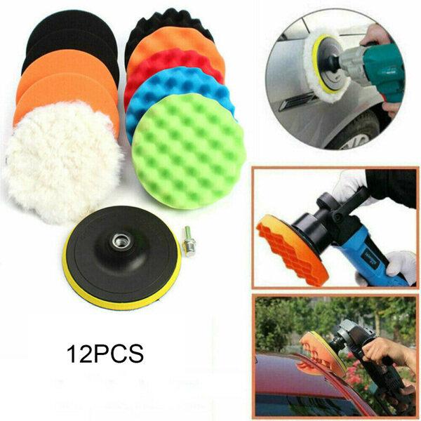12pcs 4in Waxing Buffing Sponge Buffer Polishing Pad Kit For Car Polisher