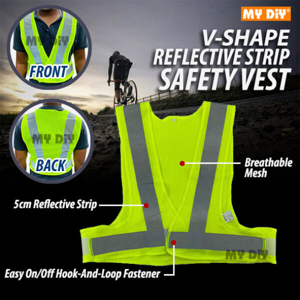 MYDIY Online2u - Safety Vest with V-Shape Reflective Strip and Yellow Fabric / High Visibility 5cm width vertical and horizontal reflective strips