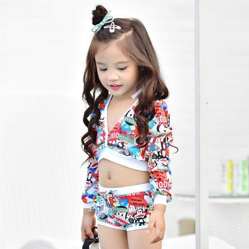 33725dadf4 Kid's Bikini Swimsuit Korean Girls Split Cute Baby Princess Long Sleeve  Sunscreen Swimwear Three-piece