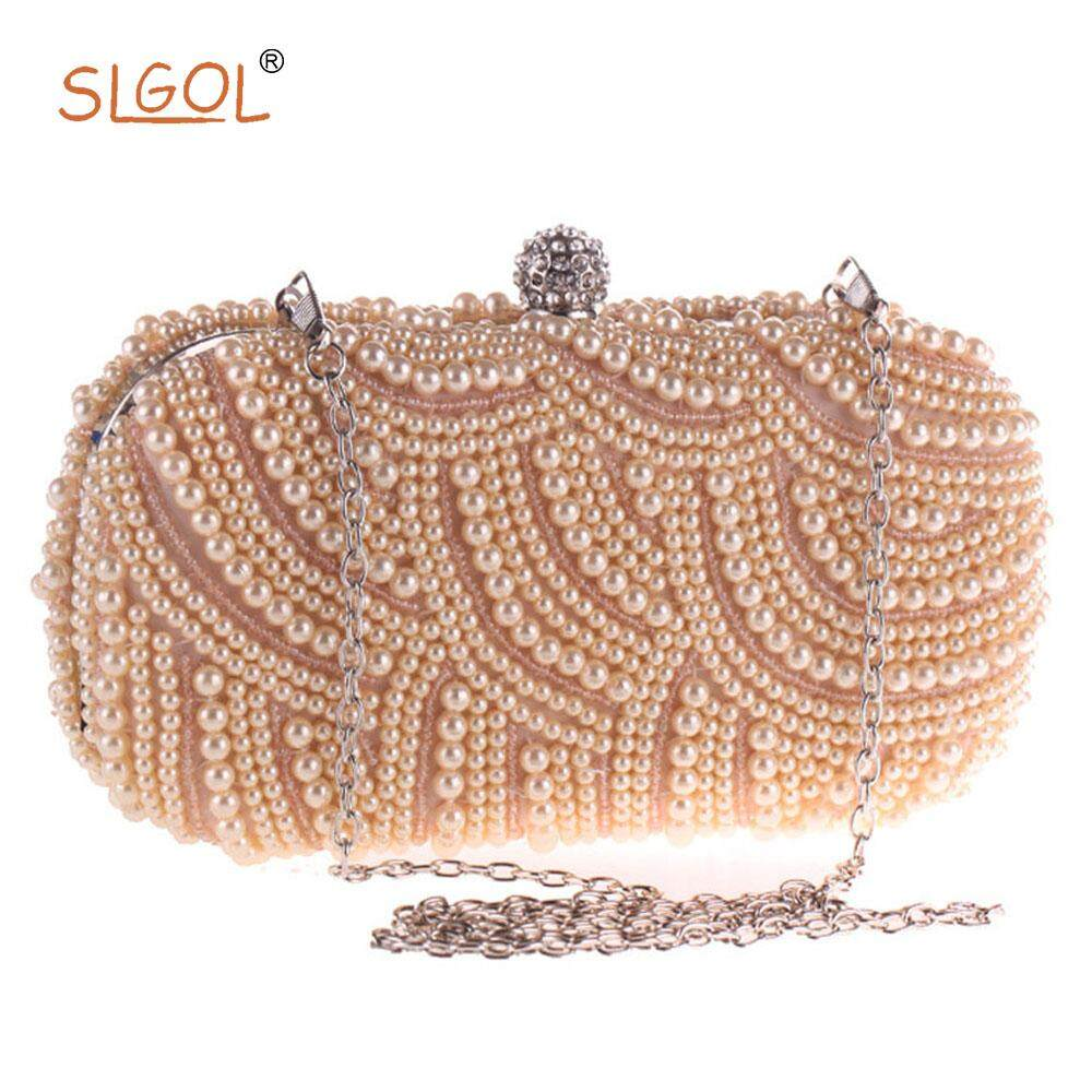 Womens Evening Bag,SLGOL Clutches & Evening Handbags Pearl Bags For Banquets, Weddings, Parties, Cocktails, Birthday Parties