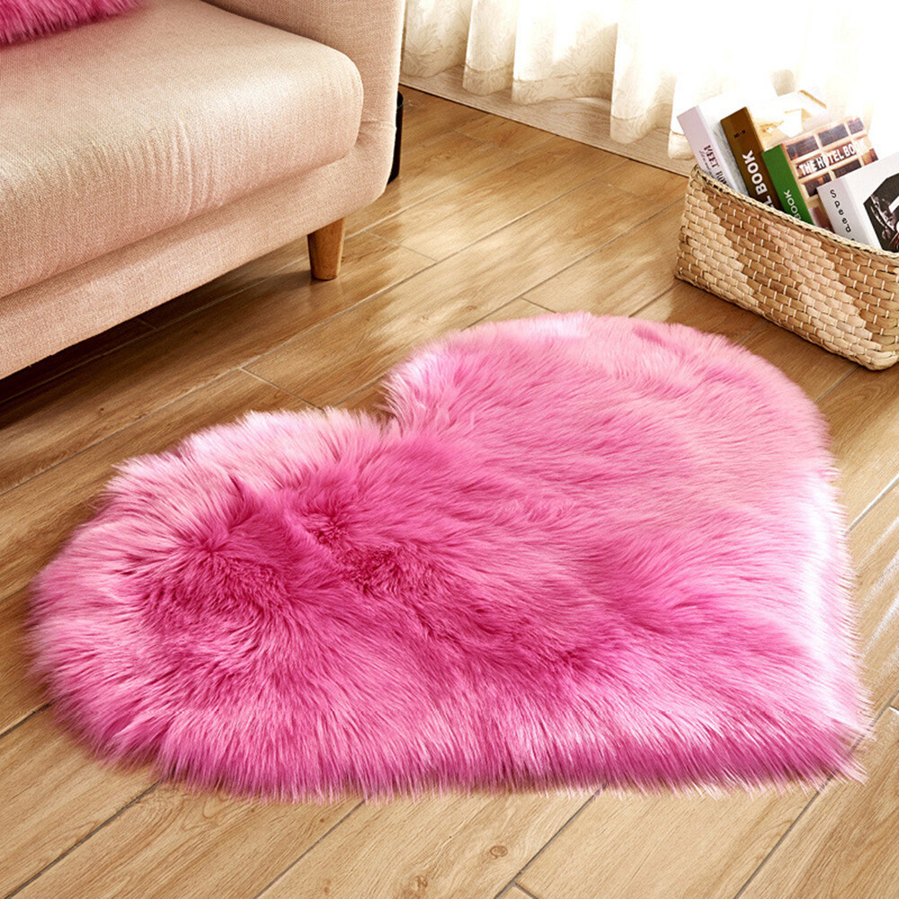Samsmy Lovely love rug artificial furry blanket rug solid color fluffy soft rug felt girl gift suitable for bedroom living room decoration