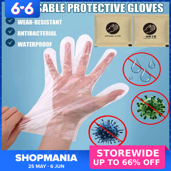 [Ready Stock] Plastic HDPE Disposable Embossed Glove (100 PCS/ 50 PAIRS)