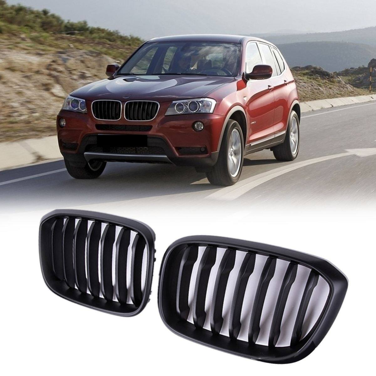 Car Matte Black Two Line Front Hood Kidney Grille Grill For Bmw X3 G01 X4 G02 2018 2020 Lazada