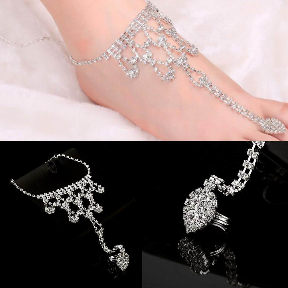 Hot New Women Toe Ring Anklet Foot Chain Water Drop Rhinestone Barefoot Sandal Chain