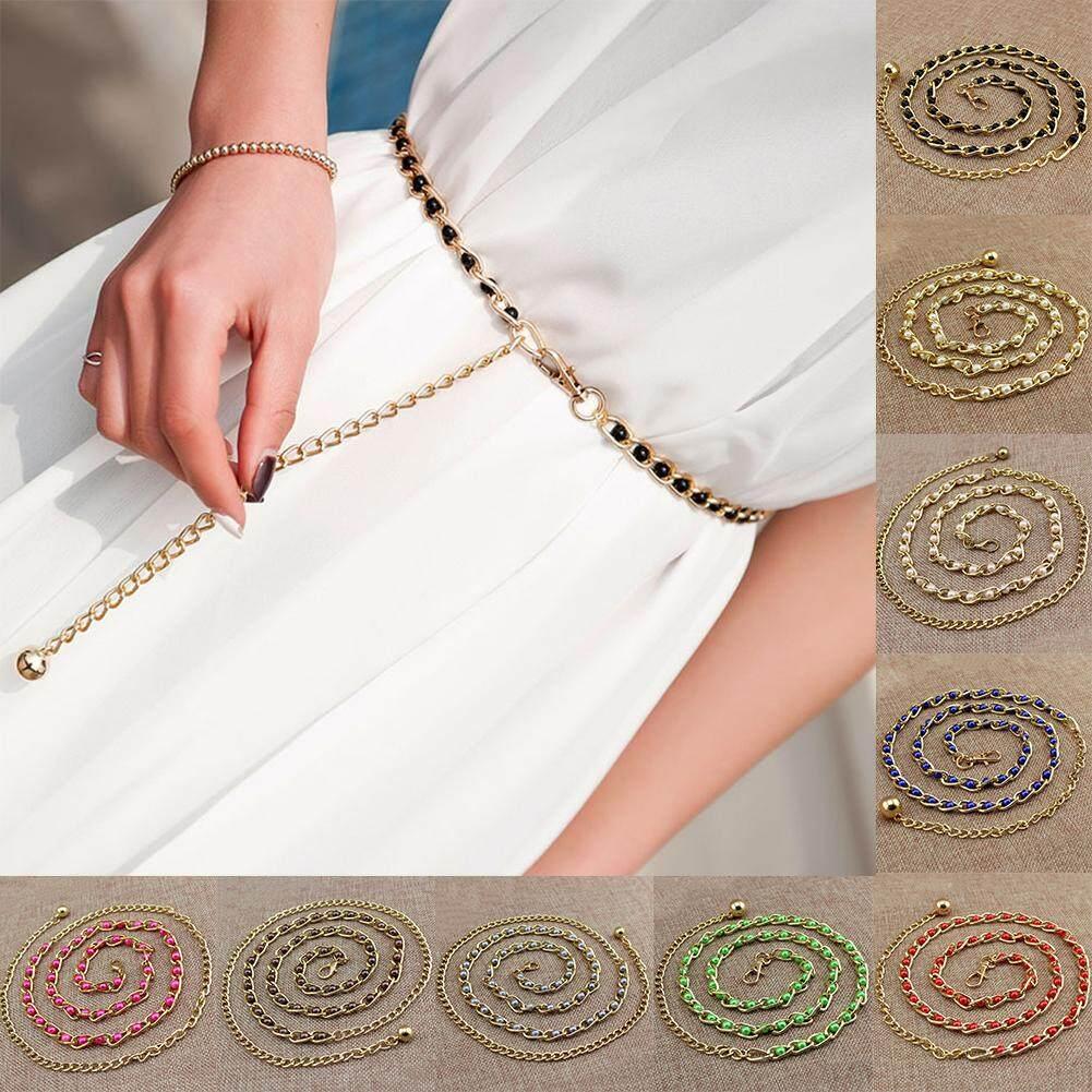 d51fbd268 Women Fashion Imitation Pearl Waist Chain Female Olivet Thin Belts Ladies  Dress Accessories