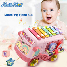 HelloKimi Knocking Piano Bus Musical Instrument Toys Multi-Functional Building Blocks Wrapping Bead Pulling Thread Music Car Toy Baby Toys Kids Music Educational Toys for Baby Boy Girl Toddler Preschooler