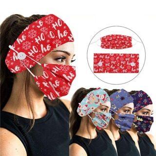 Băng Đô Co Giãn Cho Nữ In Hình Giáng Sinh, Khăn Trùm Đầu Mũ Đội Đầu Thể Thao Rộng Chạy Bộ, Yoga Headband Phụ Kiện thumbnail