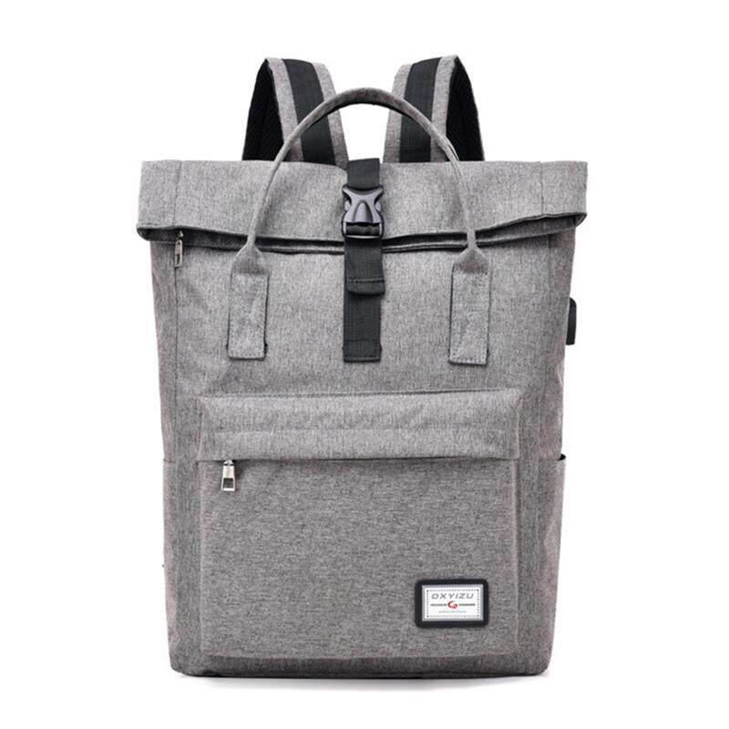 da06f6daf8cb DINGXINYIZU Neutral outdoor leisure fashion college backpack USB laptop bag  gray