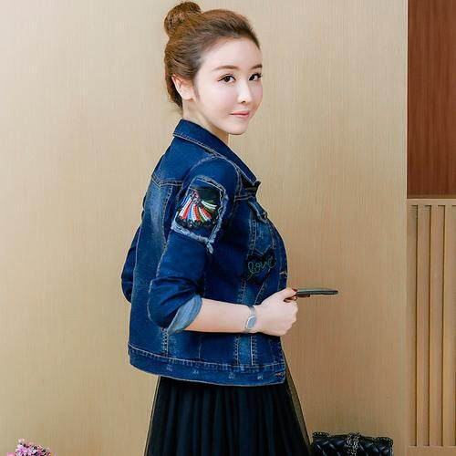 8231904a18740 Embroidery Cowboys Jacket New Spring Women Denim Jackets Female Slim Jeans  Coats